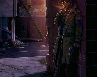 "Robotic Post-Apocalyptic Gumshoe - Multiple Sizes - ""Midnight Stakeout"""
