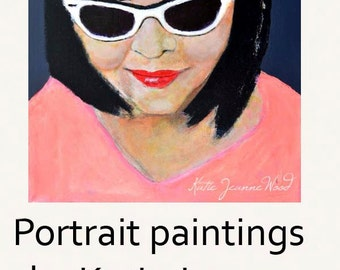 Pink & Gray Acrylic Realism Portrait Painting Woman Wearing White Sunglasses Home Wall Art Decor
