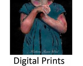 Digital Print - Little Girl Portrait Painting - Child's Room Art Decor Prints