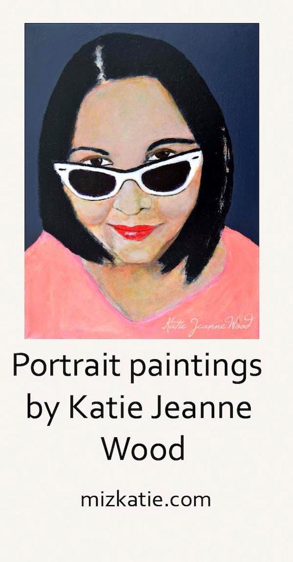 Pink & Gray Acrylic Realism Portrait Painting Woman Wearing White Sunglasses Home Wall Art Decor