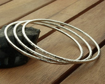 Skinny silver bangles | hammered silver bangles | stacking bangles | 2 mm | shiny bangles | womens jewelry | made to order