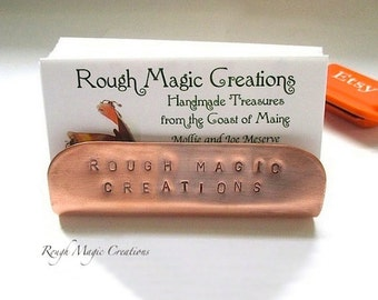 Personalized Business Card Holder, Show Display, Desk Accessory, Office Organizer, Stamped Name, Copper Metal Display