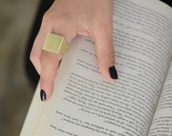 Gold Square Wedding Band Ring , 14K Gold Statement Ring , Gold Signet Ring , Unique Wedding Ring , Geometric Wedding Ring , Square Ring