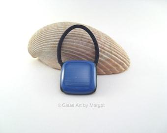 Fused Glass Ponytail Holder Blue Wispy Stripes