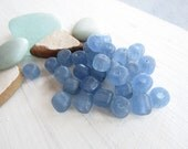 30  blue glass beads,  matte translucent  tone , freeform  tube barrel spacer indonesian Modern Indo-pacific  6 to 8mm / 6bb25-3