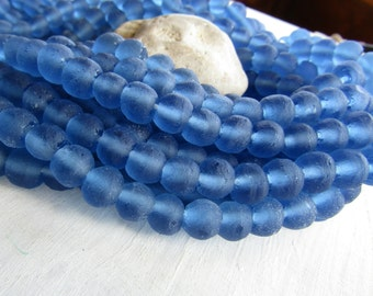 blue  Recycled glass beads , uneven round shape , matte  frosted style finish , organic irregular shape  7 to 10mm / 16 beads 6ak6-7
