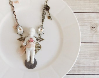 Shabby Cottage Chic Romantic Frozen Charlotte Angel Mixed Media Assemblage Bronze and Silver Statement Necklace