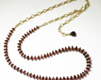 Mozambique Garnet Long Adjustable Necklace Red Garnet Necklace Garnet Jewelry Chain Necklace  GEM-N-108A-Gar