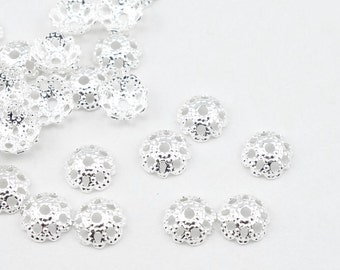 72 Bright Silver Beadcaps - 5mm Filigree Dome Caps - Plated Silver Bead Caps for Small Beads (FS147)
