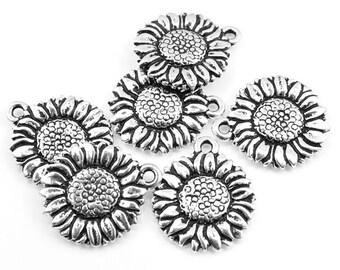 Sunflower Charms Silver Charms TierraCast Sun Flower Drop Antique Silver Flower Charms for Summer Jewelry Bohemian Charms Woodland (P171)