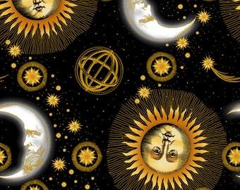 Celestial Black Sun Moon Stars Jason Yentner Fabric 1 yard