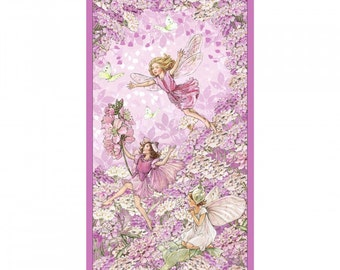 Flower Fairy Cicely Mary Barker Petal Pink fabric Panel