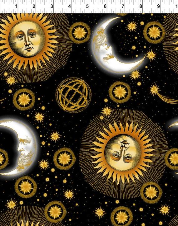 Celestial black sun moon stars jason yenter by for Sun moon stars fabric