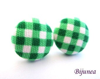 Gingham earrings - Green gingham stud earrings - Gingham posts - Gingham studs - Gingham post earrings sf1142