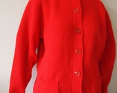 APPLE // Vintage 1970s Knit Cardigan Bright Red 70s Sweater Button Up Secretary Preppy Kawaii Clothing Teacher Sweater Womens Medium