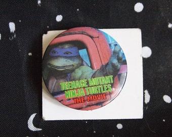 Vintage Teenage Mutant Ninja Turtles the Movie Pin 1.5 Inches 1990s Original TMNT Button Leonardo Memorabilia Metal Badge 90s Movie Punk