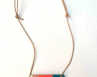 Pendant necklace -  Adjustable leather cord - Hand painted pendant - Multicolor pendant