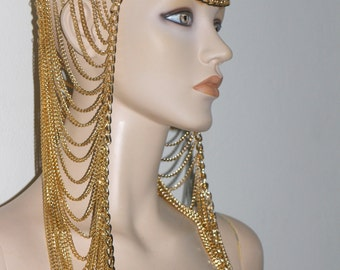 Cleopatra Queen of the nile chain harness jewelry headdress festival fashion belly dance costume