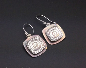 Square, oxidized, designs by Suzyn, silver earrings