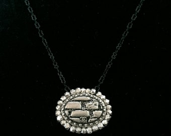 Silver and Black Chain Necklace with Tiny Vintage Chanel Button