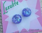 La-La-La-Lilac! Sparkly 1950's confetti lucite vintage inspired earrings handmade by Luxulite