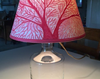 Stunning Pink Salmon Fan Coral Pierced Candelabra Lampshade on Crystal Decanter Lamp OOAK