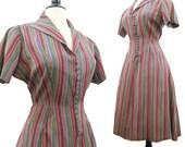 Vintage 40s 50s Dress Striped Taffeta Shirt Waist Day Dress L