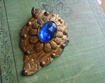 art deco brass vintage antique blue stone dress clip fur clip  - antique costume jewelry