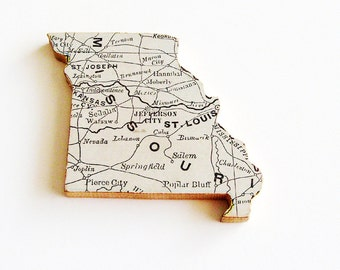1907 Missouri Brooch - Pin / Unique Wearable History Gift Idea / Upcycled Antique Wood Jewelry / Timeless Gift Under 50