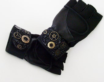Black Exercise Gloves / Mens or Ladies Wrist Wrap, Vegan Suede & Leather, Steampunk Gears Fingerless Gloves / Made-To-Order Gift Under 50