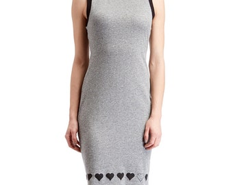 Charcoal Gray Heart Trim Cutout Back Sleeveless Dress -