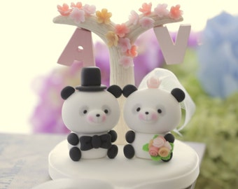 Panda Wedding Cake Topper---k954