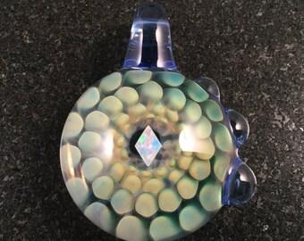 Fume Glass Implosion Pendant with Diamond cut white Opal---Majestic Glass Arts---
