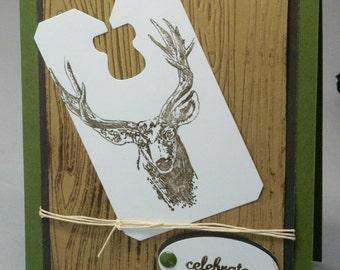 Deer Birthday Card,  Woodsy Card, Masculine Card, Buck Card,  Outdoorsman Card, Stag Bday card, Animal Greeting Card, guy card, dad card