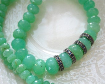Chrysoprase and Pave Sapphire Necklace-Statement Gemstone Necklace-Beaded Statement Necklace