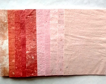 """10 beautiful handmade paper sheets - pinks and oranges - 4"""" x 6"""""""