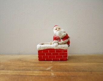 vintage 50s Mid Century Napco Santa Claus in Chimney Planter