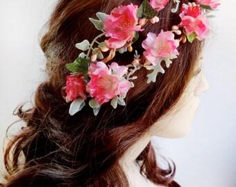 hot pink floral headband, bridal flower headpiece, double vine crown, floral head wreath, bridal hair accessories, pink hair wreath #92
