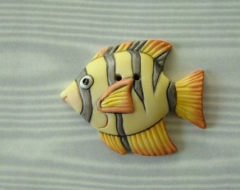 Large Fish Button Yellow