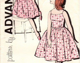 1960s Advance 9842 Vintage Sewing Pattern Girl's Sundress and Cropped Jacket Size 8