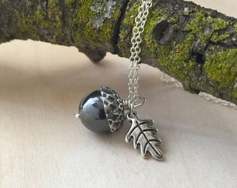 Hematite and Silver Acorn Necklace | Cute Acorn Charm Necklace | Gemstone Jewelry | Nature Jewelry