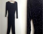 Black velvet jumpsuit / velvet burnout jumper / harem pant jumpsuit