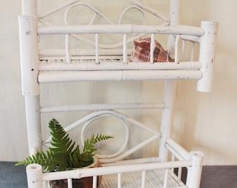 vintage rattan shelf - white bamboo two level wall shelf