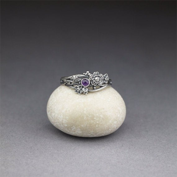 Twig ring with amethyst, size 8 for Isabelle RESERVED