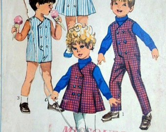 Vintage 60's Simplicity 8017 Sewing Pattern, Toddlers' Jumpsuit in Two Lengths and Dress or Jumper, Size 3, 1960's, Boys and Girls