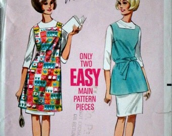 Vintage 60's Butterick 4166 Sewing Pattern, Apron in Two Versions, Size Medium 14-16, 34-36 Bust, Retro Mod