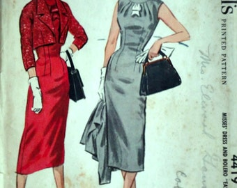 Vintage 50's McCall's 4419 Sewing Pattern,  Dress and Bolero, Easy to Sew, Size 12, 32 Bust, uncut FF