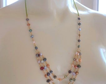 Tiered genuine freshwater pearl necklace- colorful pearl statement necklace; pearl necklace with green glass accents