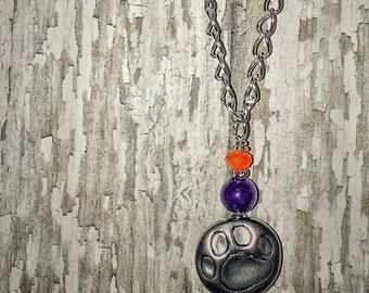 clemson jewelry,clemson necklace,clemson university,clemson tigers,clemson tiger paw,clemson orange,clemson purple,orange beads,purple beads