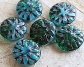 TEAL  DAHLIAS .. 6 Picasso Czech Glass Flower Beads 14mm (5062-6)